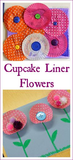 Cupcake Liner Flowers - I love how kids turn basic materials into pretty works of art!