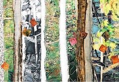 Sandra Meech produced mixed media textiles inspired by the Arctic landscape and Inuit work. Tree Art, Tree Collage, Textile Courses, Newspaper Art, Textiles Techniques, Sewing Art, Handmade Books, Patterns In Nature, Textile Artists