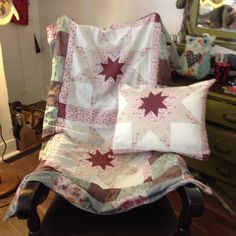 Large patchwork blanket and matching cushion.