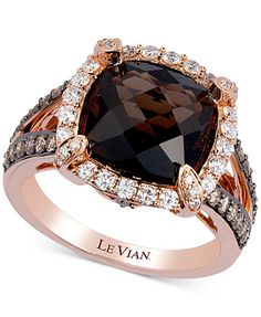 ) and Diamond Ring ct.) in Rose Gold - Rings - Jewelry & Watches - Macy's Pink Gold Rings, Gold Rings Jewelry, Diamond Jewelry, Jewelry Watches, Round Cut Diamond Rings, Pretty Rings, Quartz Ring, Luxury Jewelry, Le Vian