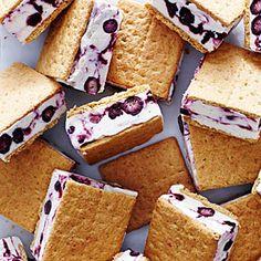 Blueberry Cheesecake Frozen Yogurt Sandwiches | MyRecipes.com
