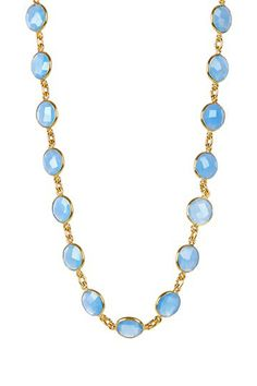 Blue Chalcedony Station Necklace by Forever Creations USA Inc. on @HauteLook