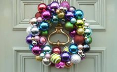 Bauble wreath, made to order on a black and white stripey ribbon, £75, suzynewton.com