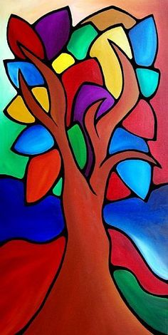Art: Growth Spurt - Color 109 by Artist Thomas C. Abstract Tree Painting, Abstract Face Art, Cubism Art, Oil Pastel Art, Mini Canvas Art, Indian Art Paintings, Arte Pop, Whimsical Art, Tree Art