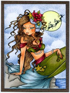 In Rosie's Book: Card Art with Copics: Crafts and Me Christmas Eve Mermaid