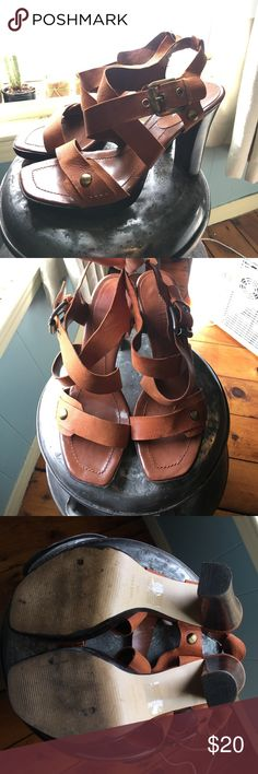 Brown leather Nine West sandals Brown leather uppers- l 4 inch heels Nine West Shoes Sandals