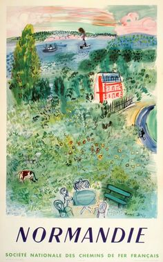 SNCF - NORMANDIE BY RAOUL DUFY ORIGINAL VINTAGE TRAVEL POSTER 1952