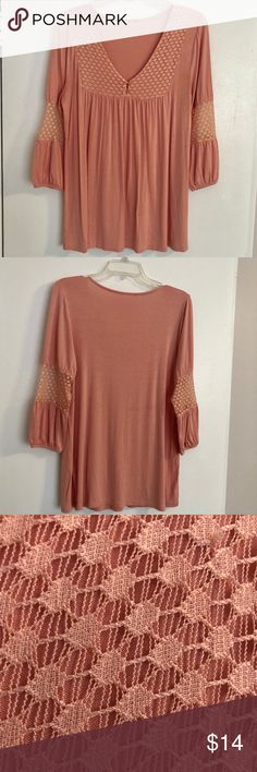 Venus Boho Blouse sz Medium EUC Salmon Color Excellent condition cute blouse from Venus.  Tags are missing.  It's a medium, not sure what it's made of.  Has nice lace material on chest and sleeves. VENUS Tops Blouses