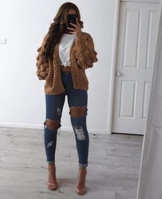BACK IN STOCK in all sizes the Miami Jeans and Bon Bon Chunky Monkey Knit (available in tan and grey) from my store use the… Source by outfits Winter Fashion Outfits, Fall Winter Outfits, Teen Fashion, Spring Outfits, Autumn Fashion, Fashion Women, High Fashion, Cute Casual Outfits, Simple Outfits