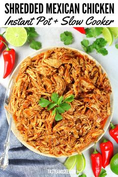 This Instant Pot/Slow Cooker Mexican Chicken is super-tender and tossed in the most flavorful and mouth-watering sauce! Perfect for tacos, burritos, enchiladas, taco salad or served with beans and rice. Chicken Taco Recipes, Mexican Food Recipes, Crockpot Recipes, Healthy Recipes, Crockpot Chicken Tacos, Authentic Mexican Chicken Recipes, Authentic Chicken Tacos, Healthy Shredded Chicken Recipes, Chicken Tinga Recipe