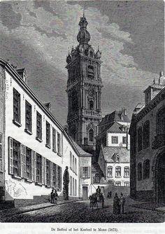 De Beffroi of het Kasteel te Mons (1873) / Gravure beffroi de Mons (1873)