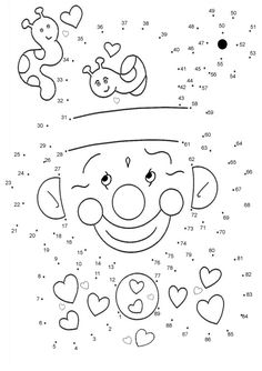 Clown game printable connect the dots game. Find out your favorite printable dot to dot games in DOT TO DOT games. Enjoy coloring with the colors of your . Connect The Dots Game, Dot To Dot Puzzles, Dot To Dot Printables, Dotted Drawings, Dotted Page, Game Happy, Color By Numbers, School Worksheets, Activity Sheets