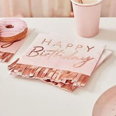These pink and rose gold napkins will shimmer beneath your tasty treats. combine with the matching plates and cups for the perfect birthday party set up! Each pack contains 16 paper napkins measuring (w) x when folded. Happy Birthday Rose, Happy Birthday Photos, Birthday Roses, Birthday Photo Booths, Colorful Birthday Party, Gold Birthday Party, Colorful Party, Birthday Parties, Birthday Lunch
