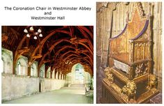 Westminster Hall where Anne Boleyn enjoyed her Coronation triumph with a  banquet. The medieval Coronation Chair used by all English and British kings and queens at their crowning.