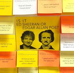 "Which ""Ed"" wrote it? My latest interactive bulletin board & presentation features Ed Sheeran and Edgar Allan Poe! Swipe ➡️ to see how you… English Bulletin Boards, Interactive Bulletin Boards, Library Bulletin Boards, Preschool Bulletin Boards, Teen Library Displays, School Displays, English Classroom Displays, Teen Trends, Library Activities"
