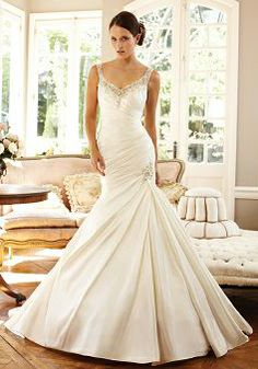 Taffeta Fit N Flare Floor Length With Beading Straps Delicate Wedding Dress - Angeldress.co.uk