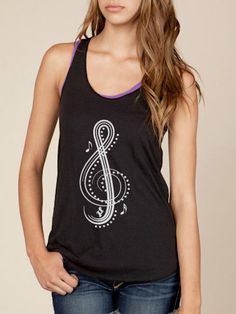 Treble Clef Eco Friendly Racerback Tank in Black by KindLabel, $32.00