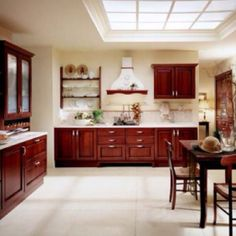 Modern Kitchen Cabinets - What is it About? Modern kitchen cabinets can be designed and configured in space , but allows it. Small Kitchen Cabinet Design, Red Kitchen Cabinets, Kitchen Cabinet Colors, Cherry Cabinets, Wooden Cabinets, Dark Cabinets, Warm Kitchen, Country Kitchen, Solid Wood Kitchens