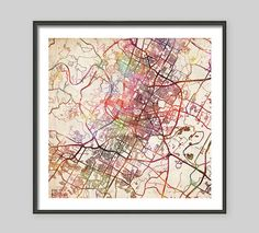 AUSTIN Map, Texas, Watercolor painting, Giclee Fine Art, Modern Abstract, Poster Print, Wall Art, Home Decor, Decoration