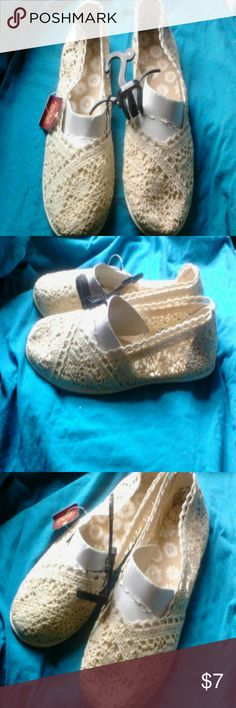 Lace Slip on Shoes - So Cute!! NWT Cream colored Lace Slip on Shoes Reposhing, they didn't fit me. Faded Glory Shoes Espadrilles