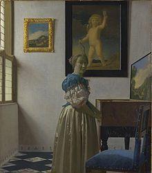 En Dama al virginal, hacia 1667–1669, hay una transición de estilo buscando una estilización. Abandonó las transiciones de color y empleó la yuxtaposición de colores. Se aprecia bien en el marco dorado de la pared.