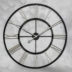 Large black and silver skeleton shabby chic wall clock
