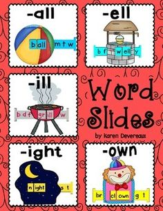 5 Word Slides for word families: all, ell, ill, ight, ownGraphics: ball, well, grill, night, clownWord Family Words:ball, call, fall, hall, mall, tall, wallbell, fell, sell, shell, spell, tell, well, yellbill, dill, fill, gill, grill, hill, mill, willbright, fight, light, might, night, right, sight, tightbrown, clown, crown, down, frown, gown, townGreat literacy center activity!Students slide the letter bar through the graphic to make -all, -ell, -ill, -ight, and -own words. 2 Word Slides…