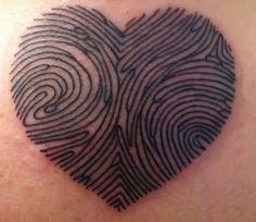 Hubs and I's fingerprints into a heart tattoo! Great idea!!!