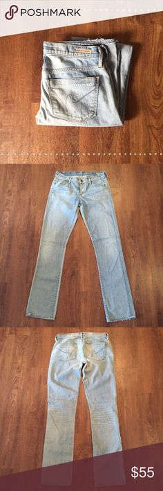 """Citizens Of Humanity Jeans Slightly distressed. Very soft! Low rise straight jeans. 98% cotton 2% polyester 30"""" waist 8"""" front rise 12"""" back rise 32"""" inseam.   Need any other information? Measurements? Materials? Feel free to ask! Don't be shy, I always welcome reasonable offers! Fast shipping! Same or next day! Sorry, no trades!  Happy Poshing!☺️ Citizens of Humanity Jeans Straight Leg"""