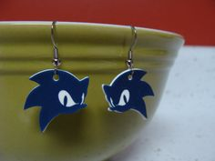 Sonic the Hedgehog Logo Earrings on Etsy, $8.00