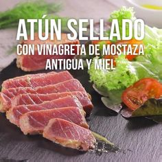 Video de Atún Sellado con Vinagreta de Mostaza Antigua y Miel Atıştırmalıklar Salmon Recipes, Fish Recipes, Seafood Recipes, Mexican Food Recipes, Cooking Recipes, Healthy Recipes, Cooking Toys, Cooking Lamb, Indian Recipes