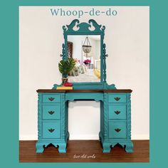 Shades of Blue-Green — Two Old Souls Desk Makeover, Furniture Makeover, Refurbished Furniture, Painted Furniture, Country Chic Decor, Painted Hutch, Painted Side Tables, Antique Vanity, Paint Line