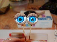 Куклы Мастер-класс Моделирование конструирование МК по глазкам Капрон Краска Пуговицы фото 1