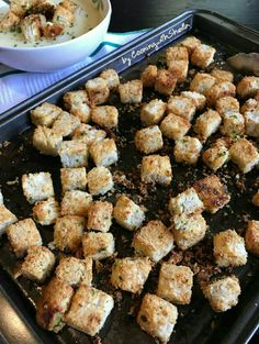 Baked Crunchy Garlic Cheese Croutons