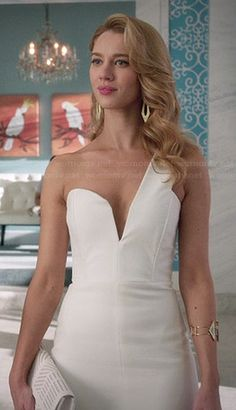 Petra's white one shoulder dress and black and white patterned pumps on Jane the Virgin. Outfit Details: http://wornontv.net/45738/ #JanetheVirgin