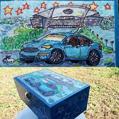 Wooden keepsake box completed for my friend Christine Kriston with her new car ,pets behind the wheel and AT&T Stadium in the background (she is also a Cowboys fan) Airbrushed box and acrylic,ink and Marker covered in Polycrylic Urethane