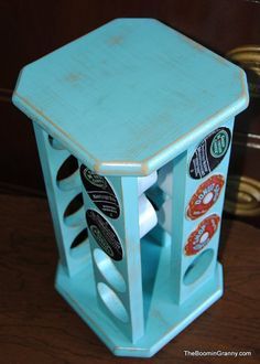 great way to update old spice rack .. painted with turquoise and distressed, adding coffee K-cups! diy old spicerack