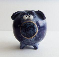 Handmade PIGGY BANK  BOY Money Bank in Two Colors by ClayfulStudio