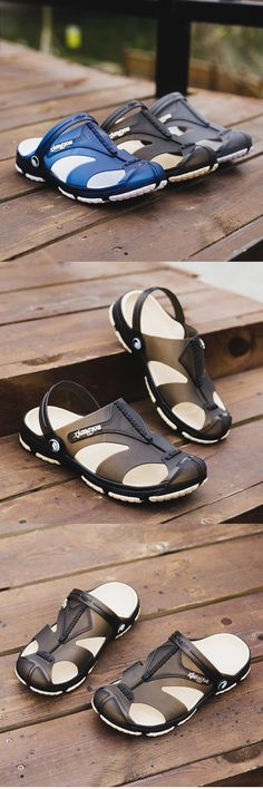 US$14.89 Men Anti-collision Toe Hollow Out Breathable Slip On Casual Beach Shoes