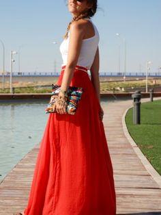 Coral Long Skirt | samoreni outfits Verano 2012