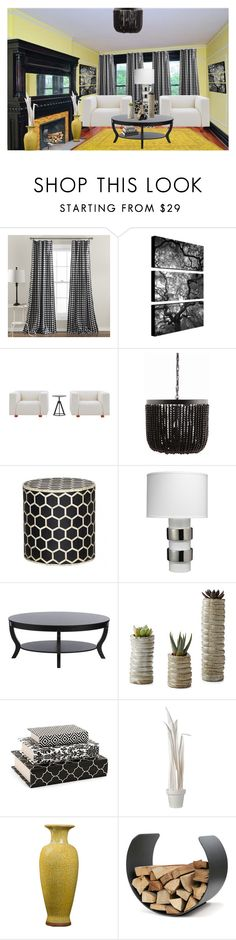 """""""Yellow Black and White"""" by ceeceelafoyle on Polyvore featuring interior, interiors, interior design, home, home decor, interior decorating, Lush Décor, Knoll, Dot & Bo and DwellStudio"""