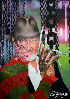 Coloured pencil drawing of Freddy Krueger/Robert Englund. The limited edition was created for the London Film and Comic Con and was given to the Diamond Pass holders of the show.