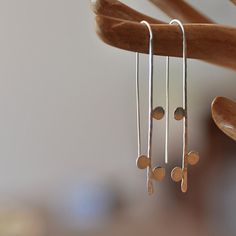 Thread earring with dots Recycled sterling by oblissjewellery, $48.00  Gorgeous and simple