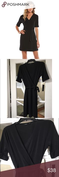 "🆕Apt.9 Women's Faux Wrap Dress The perfect little go to black dress. Surplice neckline. Elbow sleeves. Softy Crepe construction. Unlined. Flattering style wrap design. Coordinating sash. Polyester/Spandex. Sizes: XS ( flat across underarm to underarm 17, waist 13"" length 36"") M ( flat across 19, waist 15"" length 38""). Color :Black. Brand new with tags Apt. 9 Dresses"