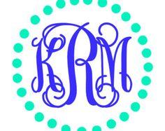 Pineapple Monogram Monogram Sticker Vinyl by CameoandCompany