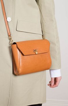 Clasp Fasten Clutch Bag Tan
