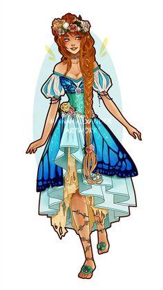 Thumbelina: Art Nouveau Redesign by Hannah-Alexander on DeviantArt Character Concept, Character Art, Character Design, Animation Character, Character Ideas, Concept Art, Princess Art, Barbie Princess, Modern Princess