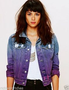 Free People Ombre Wash Denim Jean Jacket in blue, pink & purple!