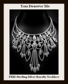 The Royalty Necklace - fine sterling silver - micron natural rhodium Set with AAA white cubic zirconia. Bling Jewelry, Diamond Jewelry, Gemstone Jewelry, Jewelry Box, Jewellery, Necklace Designs, Sterling Silver Necklaces, Jewelry Design, Fashion Jewelry