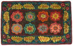 "floral hooked rug- great colors Linda Gustafson, of Chardon, Ohio.    ""Leaf Border Geometric"";  a Port Primitives design."